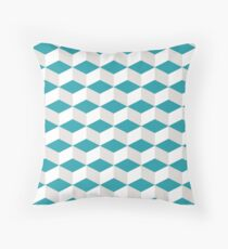 Teal, Light Gray Geometric Pattern Throw Pillow