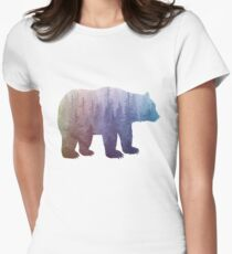 Misty Forest Bear - colorful rainbow Womens Fitted T-Shirt
