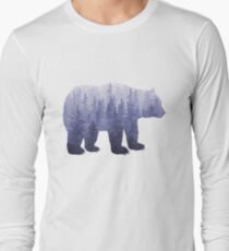Misty Forest Bear - deep purple Long Sleeve T-Shirt