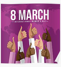 International Womens Day multicultural thumbs up design. Poster