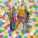 ASL Painting of the Sign MOTHER on Bright Bubble Background by EloiseArt