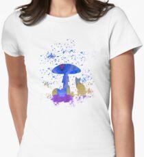 Cat Mushroom Womens Fitted T-Shirt