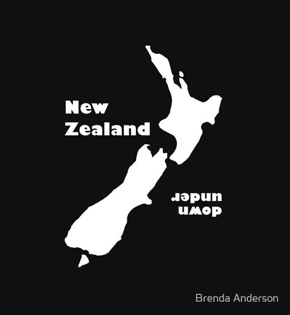 New Zealand 'down under' Dark T by Brenda Anderson