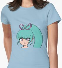 Cute Girl with a Pink Ribbon Womens Fitted T-Shirt