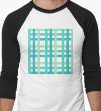 Green and White Tartan Weave Men's Baseball ¾ T-Shirt