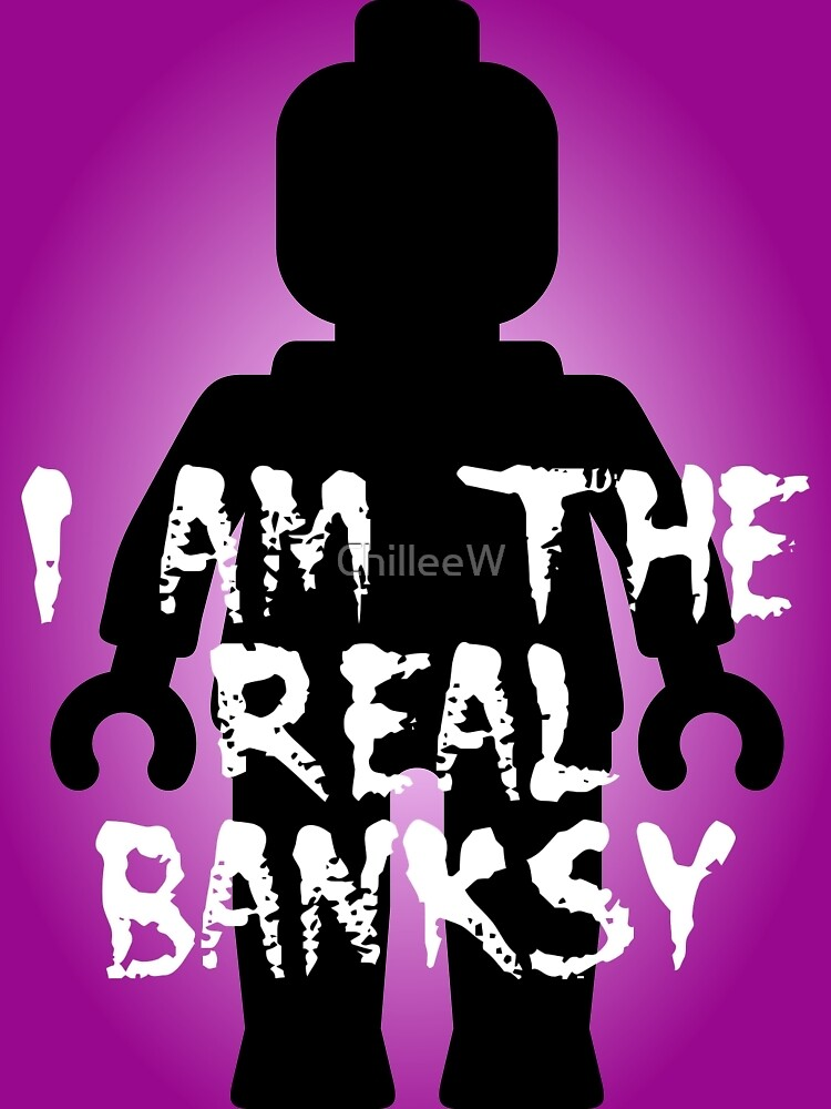 """Black Minifig with """"I am the Real Banksy"""" slogan, Customize My Minifig by ChilleeW"""