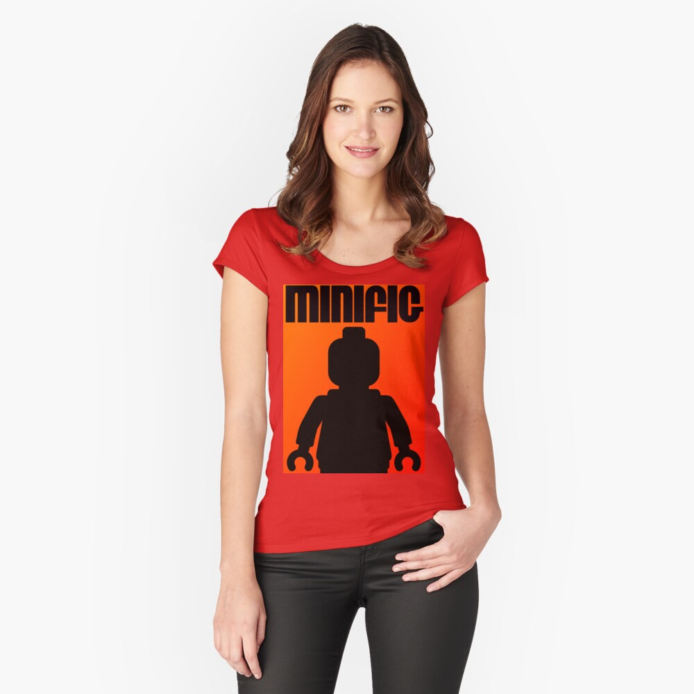 Retro Large Black Minifig, Customize My Minifig Women's Fitted Scoop T-Shirt Front