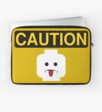 Caution Rude Minifig Head Sign Laptop Sleeve