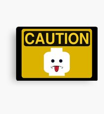 Caution Rude Minifig Head Sign Canvas Print