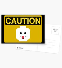Caution Rude Minifig Head Sign Postcards