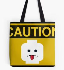 Caution Rude Minifig Head Sign Tote Bag