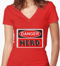 Danger Nerd Sign Women's Fitted V-Neck T-Shirt