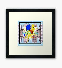 paint the city yellow blue and orange with buildings background Framed Print