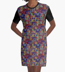 Shiny Futuristic  Squares Graphic T-Shirt Dress