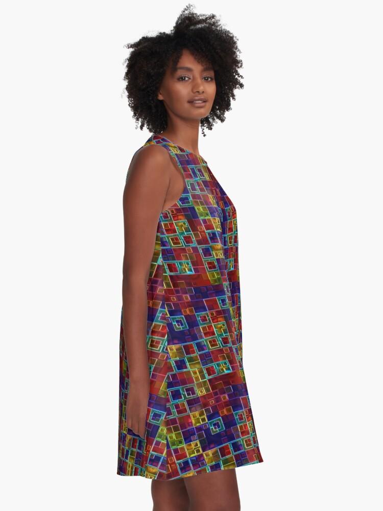Alternate view of Shiny Futuristic  Squares A-Line Dress