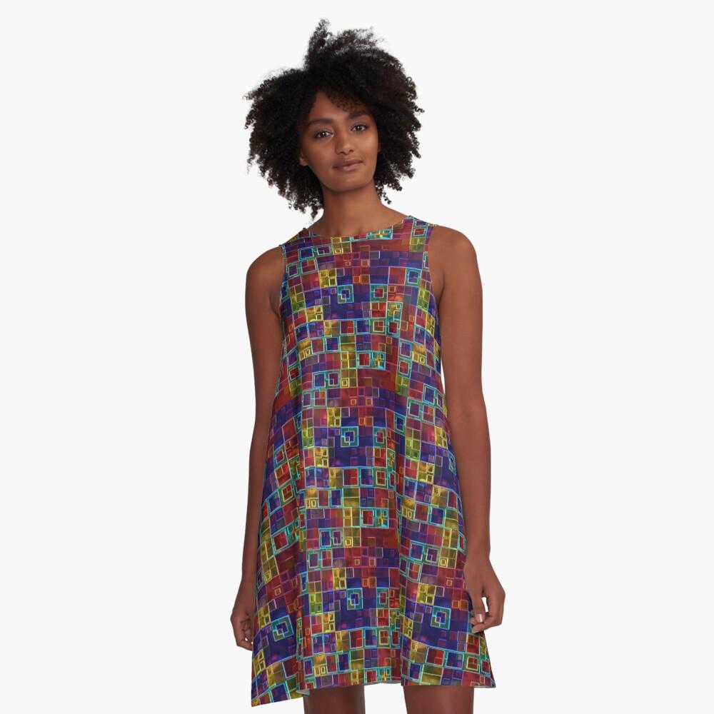 Shiny Futuristic  Squares A-Line Dress