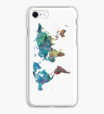 World Map Watercolor Blue Red Yellow Green iPhone Case/Skin