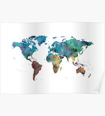 World Map Watercolor Blue Red Yellow Green Poster