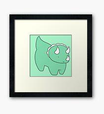 Cute Light Green Triceratops Framed Print