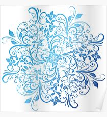 Swirly mandala with blue gradient Poster