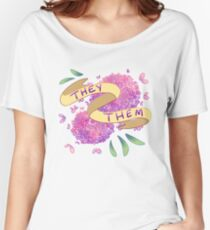 Flowery Pronouns (They/Them) Women's Relaxed Fit T-Shirt
