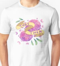 Flowery Pronouns (They/Them) Unisex T-Shirt