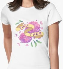 Flowery Pronouns (They/Them) Women's Fitted T-Shirt