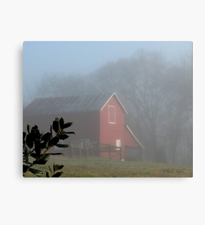 """Red Barn Through the Mist""... prints and products Canvas Print"