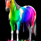 Colorful Rainbow Wet Paint Horse by csforest