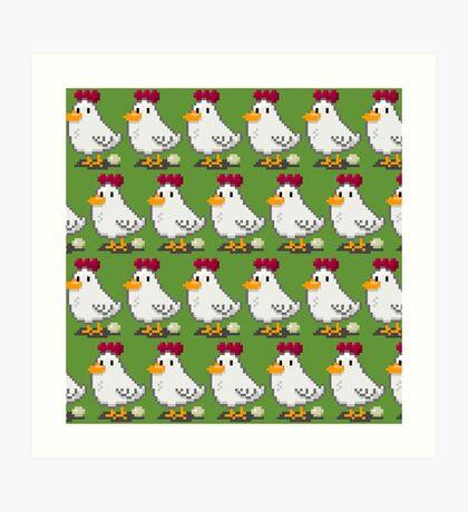 Pixel Chickens Art Print
