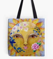 Flower Power celestial shabby chic sun face with roses Tote Bag