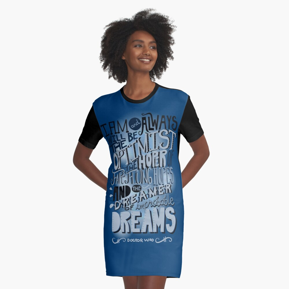 Dreamer of Improbable Dream Graphic T-Shirt Dress