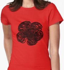 Striking black and white beaded floral design Womens Fitted T-Shirt