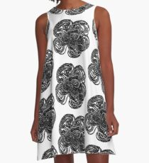 Striking black and white beaded floral design A-Line Dress