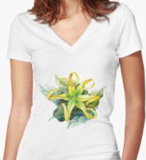 Watercolor ylang ylang Women's Fitted V-Neck T-Shirt