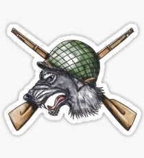 Grey Wolf WW2 Helmet Crossed Rifles Tattoo Sticker