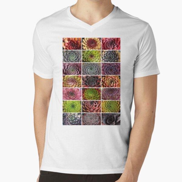 Sempervivum Collage - Hauswurz - Houseleek T-Shirt mit V-Ausschnitt