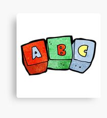 cartoon letter blocks Canvas Print