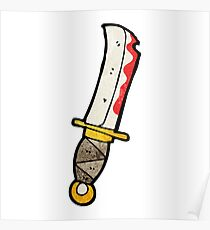 cartoon bloody knife Poster