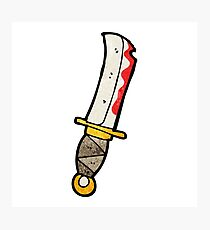 cartoon bloody knife Photographic Print