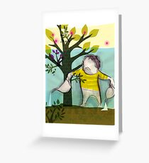 garden boy:watering charlie Greeting Card