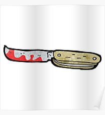cartoon bloody folding knife Poster