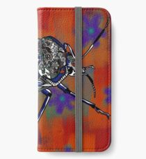 Patterned Insect on Rust Flowers iPhone Wallet