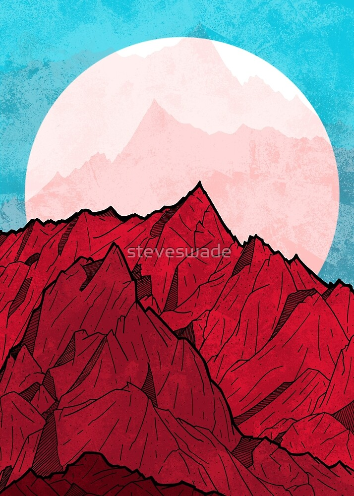 Red mountains under the great moon by steveswade