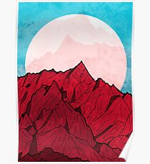 Red mountains under the great moon Poster