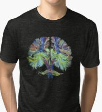 Tractography on black Tri-blend T-Shirt
