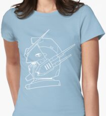 Gundam Heavyarms Profile Outline White Womens Fitted T-Shirt