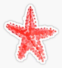 Red starfish watercolor Sticker