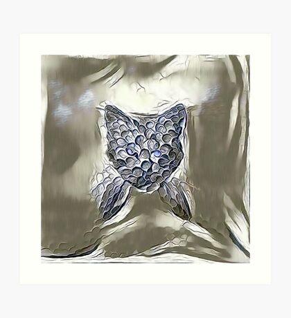 Ninja cat hiding in silver Art Print