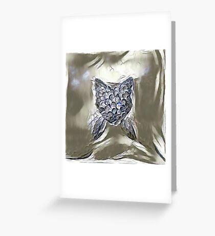 Ninja cat hiding in silver Greeting Card